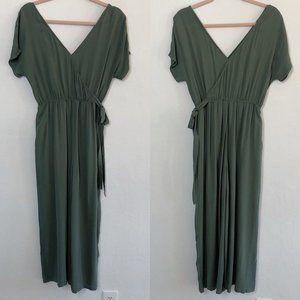 Modern Citizen Short Sleeve Jumpsuit Olive Green S